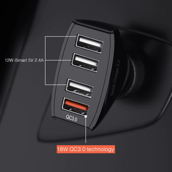 Ykz Qualcomm Quick Charge 3.0 Quad Port Car Charger / Carcharger - Black