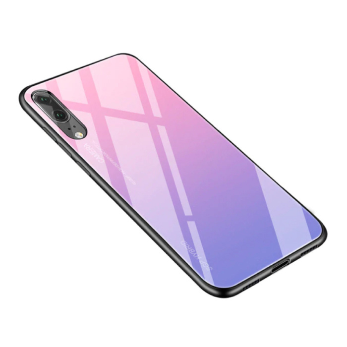 Huawei P20 Lite - Dégradé Armure de couverture de cas Cas TPU Rose