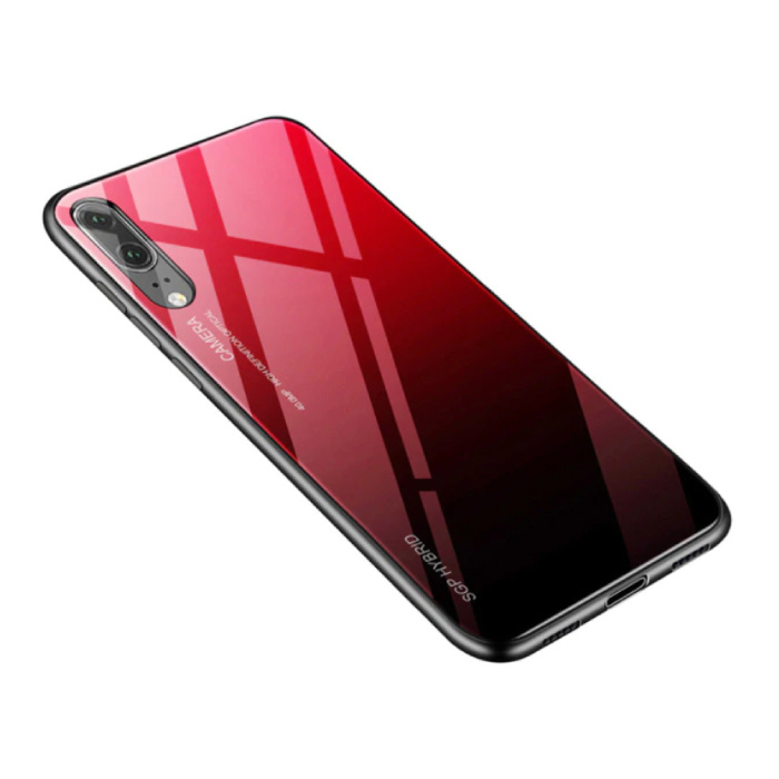 Huawei P20 Lite - Gradient Armor Case Cover Cas TPU Hoesje Rood