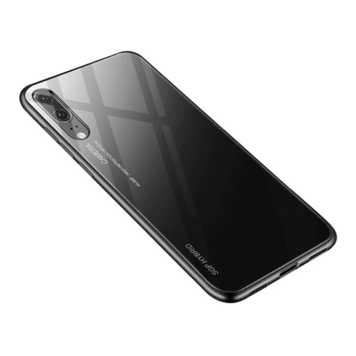 Huawei P20 Lite - Gradient Armor Case Cover Cas TPU Hoesje Zwart