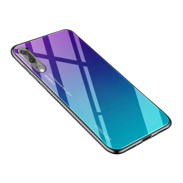 Huawei P30 Lite - Gradient Armor Case Cover Cas TPU Hoesje Blauw