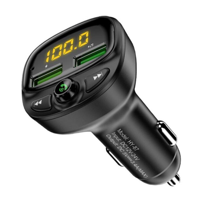 Double chargeur de voiture USB émetteur Bluetooth chargeur mains libres Kit radio FM avec fente pour carte SD noir