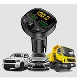 FLOVEME Dual USB Car Charger Bluetooth Handsfree Charger FM Radio Kit Black