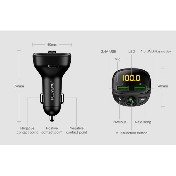 FLOVEME Dual USB Autolader Bluetooth Handsfree Oplader FM Radio Kit Zwart