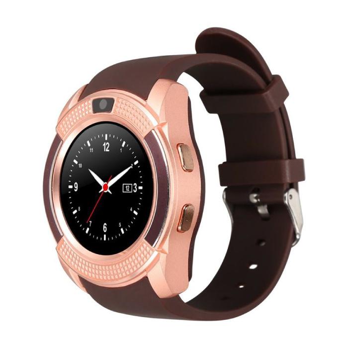 Original V8 SmartWatch HD Smartphone Fitness Sports Activity Tracker Watch OLED iOS iPhone Android Samsung Huawei Brown