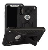 Stuff Certified® iPhone X - Etui Armure Militaire Couverture Etui TPU Noir + Béquille