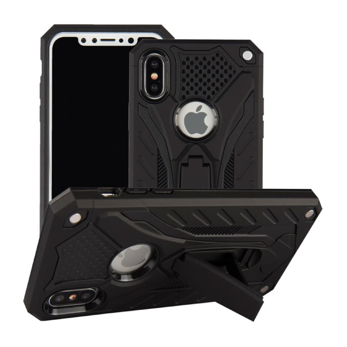 iPhone X - Military Armor Case Cover Cas TPU Hoesje Zwart + Kickstand