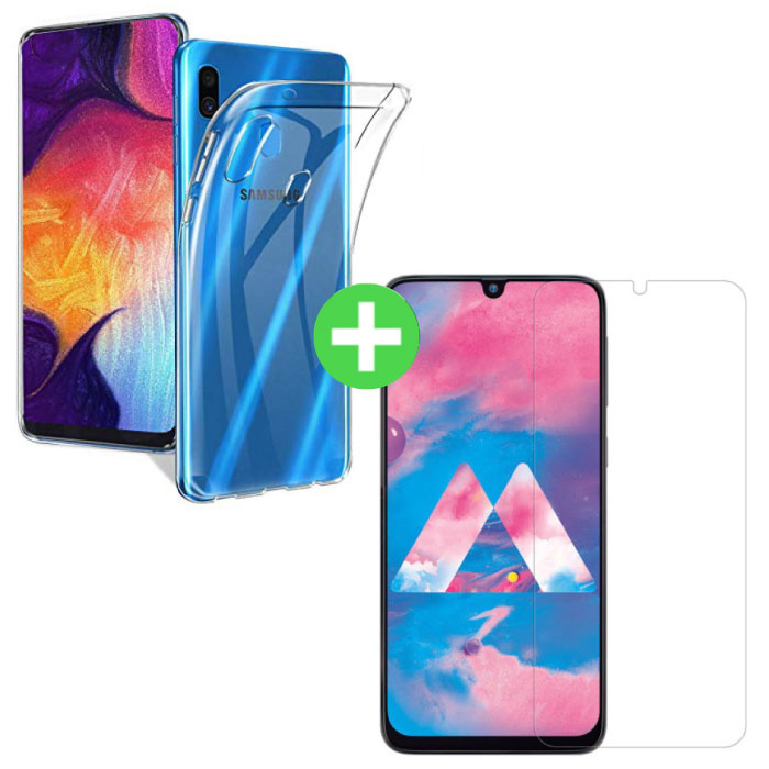 Samsung Galaxy A40 Transparant TPU Hoesje + Screen Protector Tempered Glass