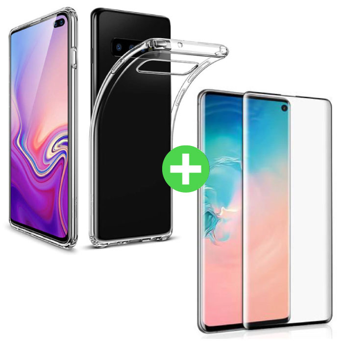 Samsung Galaxy S10 Plus Transparant TPU Hoesje + Screen Protector Tempered Glass