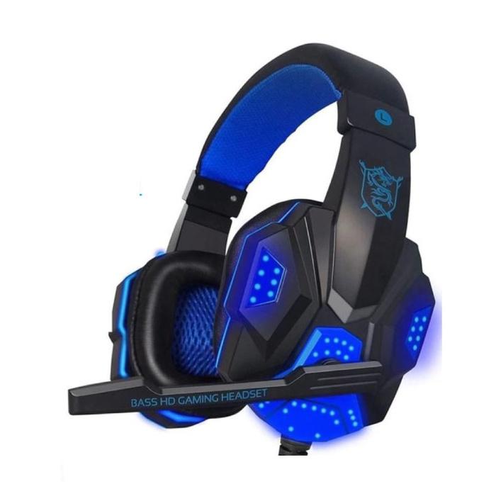 Casque de jeu PC780 Casque d'écoute sur l'oreille avec microphone bleu