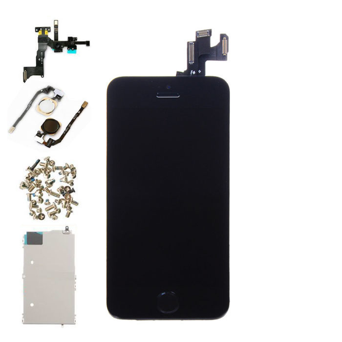 iPhone 5S Vormontierter Bildschirm (Touchscreen + LCD + Teile) AA + Qualität - Schwarz