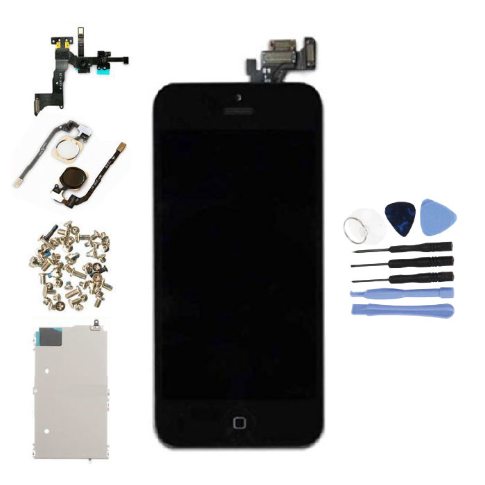 iPhone 5 Vormontierter Bildschirm (Touchscreen + LCD + Teile) AAA + Qualität - Schwarz + Werkzeuge
