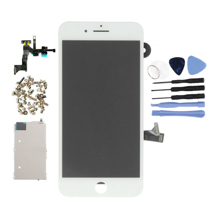 iPhone 8 Plus Vormontierter Bildschirm (Touchscreen + LCD + Teile) AA + Qualität - Weiß + Werkzeuge