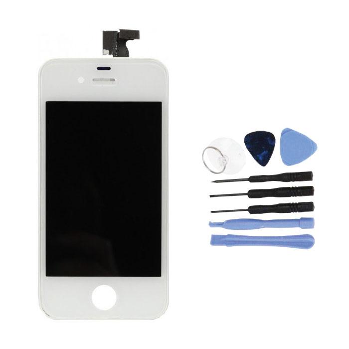 iPhone 4 Bildschirm (Touchscreen + LCD + Teile) AAA + Qualität - Weiß + Werkzeuge