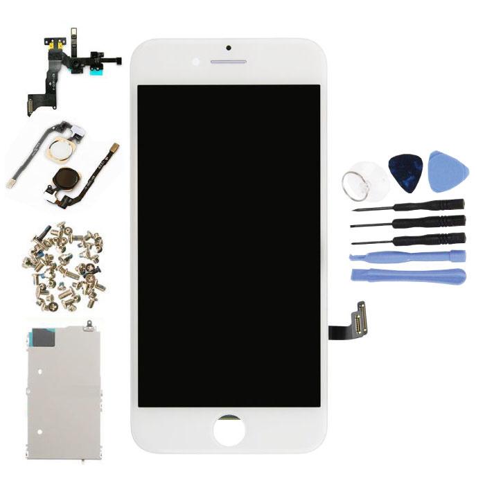 Vormontierter iPhone 7-Bildschirm (Touchscreen + LCD + Teile) AA + Qualität - Weiß + Werkzeuge
