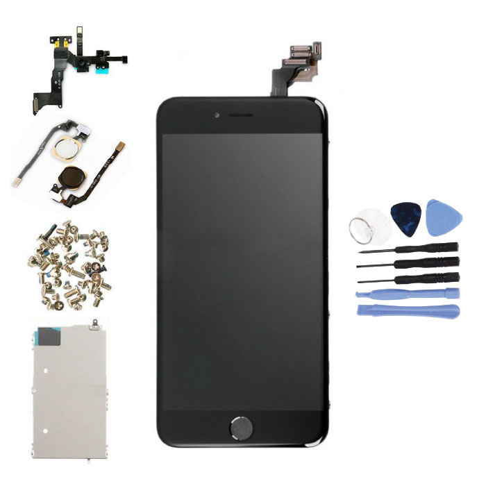 Vormontierter iPhone 6S Plus-Bildschirm (Touchscreen + LCD + Teile) AA + Qualität - Schwarz + Werkzeuge