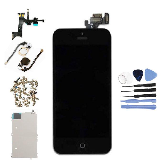 iPhone 5 Vormontierter Bildschirm (Touchscreen + LCD + Teile) AA + Qualität - Schwarz + Werkzeuge
