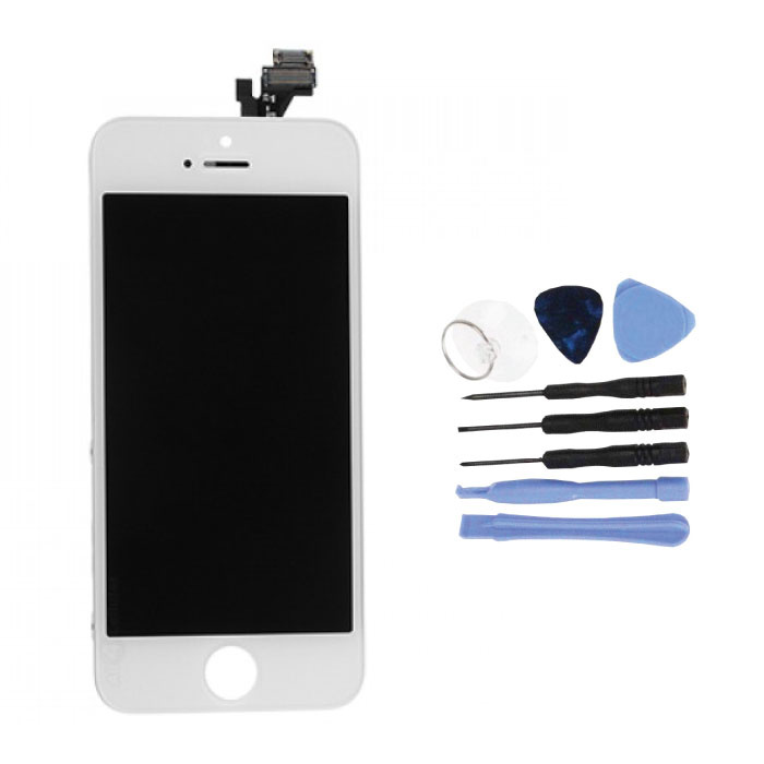 iPhone 5 Bildschirm (Touchscreen + LCD + Teile) AA + Qualität - Weiß + Werkzeuge