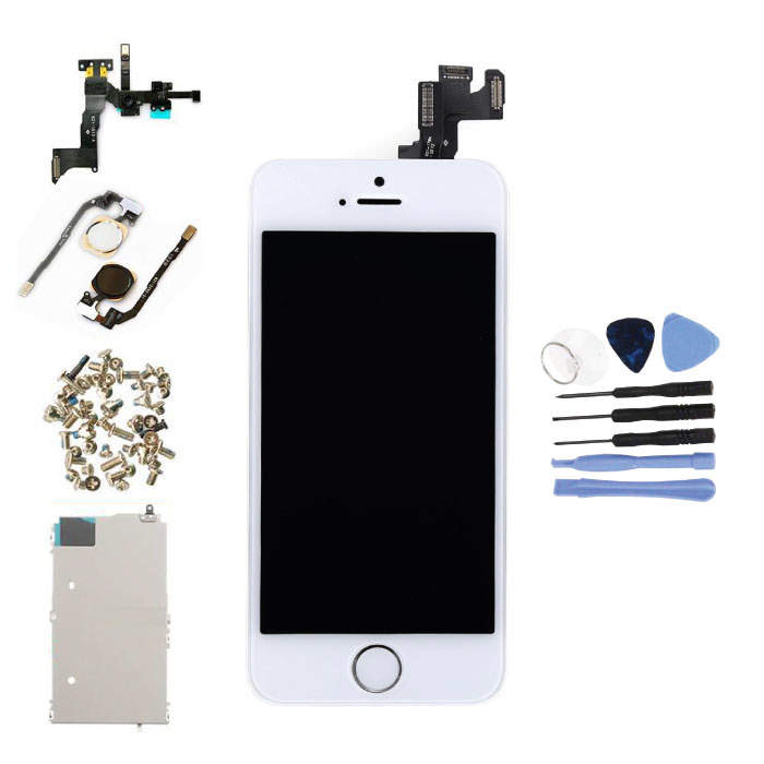 iPhone SE Front Mounted Display (LCD + Touch Screen + Parts) A + Quality - White + Tools