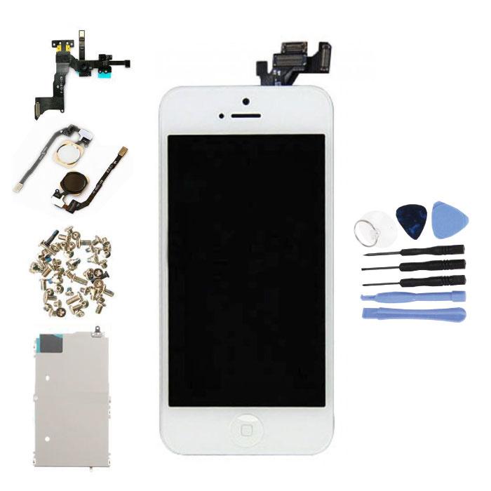 Vormontierter iPhone 5-Bildschirm (Touchscreen + LCD + Teile) A + Qualität - Weiß + Werkzeuge