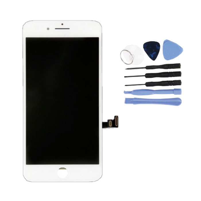 iPhone 8 Plus Bildschirm (Touchscreen + LCD + Teile) A + Qualität - Weiß + Werkzeuge