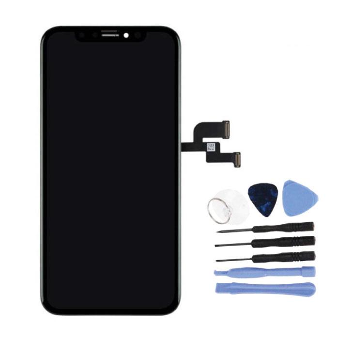 iPhone XS Bildschirm (Touchscreen + OLED + Teile) AA + Qualität - Schwarz + Werkzeuge