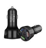 AIXXCO Qualcomm Quick Charge 3.0 Triple Port Autolader/Carcharger - Zwart