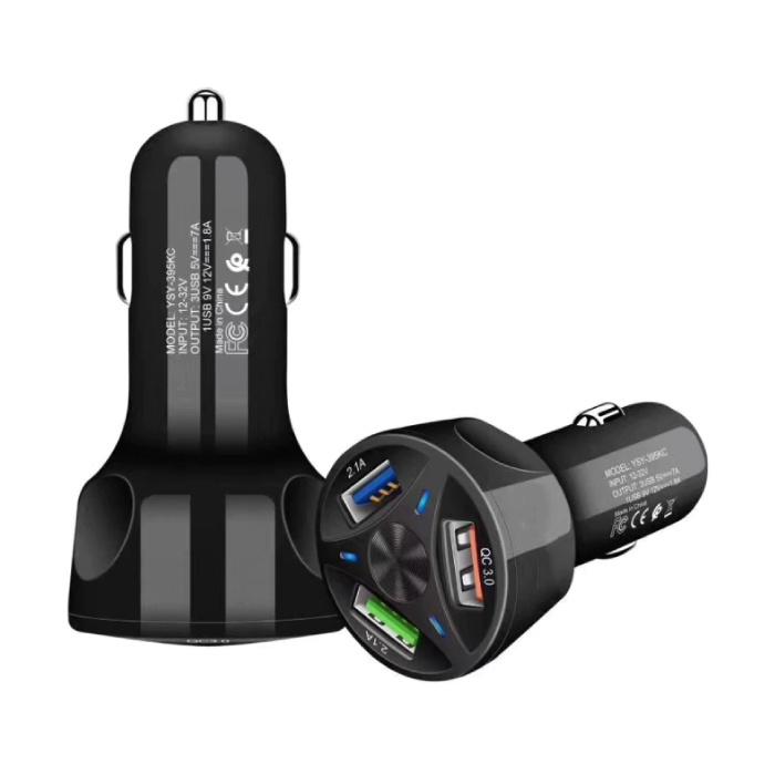 Qualcomm Charge rapide 3.0 Triple Port Car Charger / Carcharger - Noir