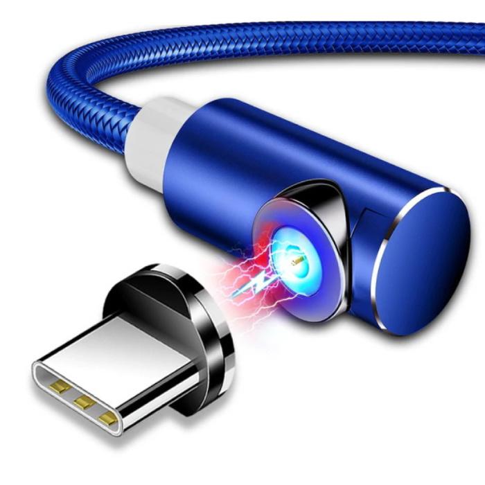 USB 2.0 - Câble de charge magnétique iPhone Lightning 2 mètres Câble de données de chargeur en nylon tressé bleu