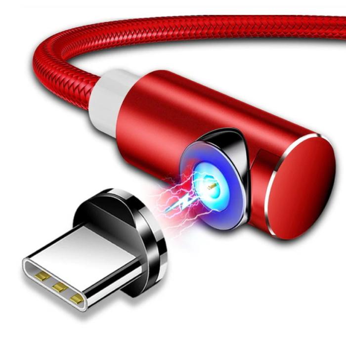 USB 2.0 - USB-C magnétique Cable 2 metres Nylon Tressé Chargement de données Cable Android Rouge