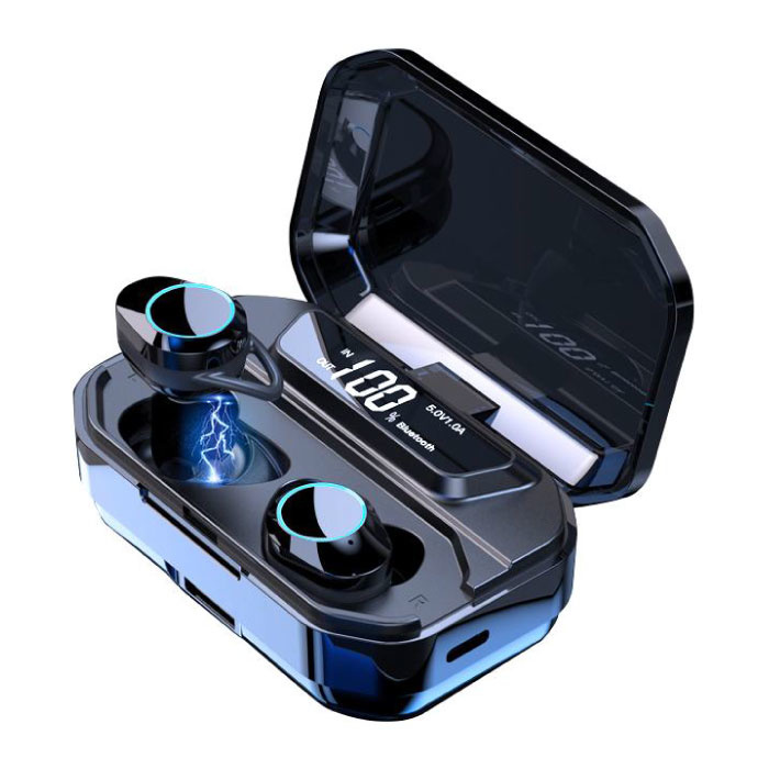 G02 TWS écouteurs de contrôle tactile intelligents sans fil Bluetooth 5.0 écouteurs intra-auriculaires sans fil 3300mAh Powerbank écouteurs écouteurs noir