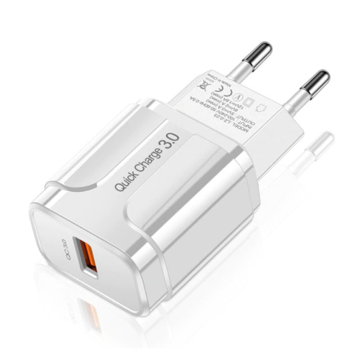 Chargeur mural USB Qualcomm Quick Charge 3.0 Chargeur mural Chargeur secteur AC Adaptateur de chargeur - Blanc