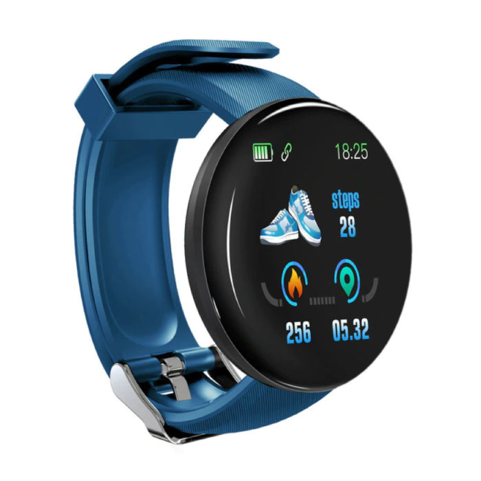 D18 originale SmartWatch courbe HD Smartphone Sport Fitness Sport Tracker activité Regarder iOS iPhone Android Samsung Huawei Bleu
