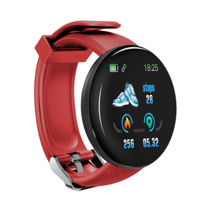 Originele D18 Smartwatch Curved HD Smartphone Sport Fitness Sport Activity Tracker Horloge iOS Android iPhone Samsung Huawei Rood