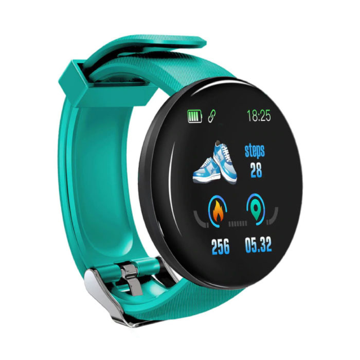 Originele D18 Smartwatch Curved HD Smartphone Fitness Sport Activity Tracker Horloge iOS Android iPhone Samsung Huawei Groen