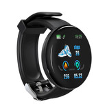 Stuff Certified® Originele D18 Smartwatch Curved HD Smartphone Fitness Sport Activity Tracker Horloge iOS Android iPhone Samsung Huawei Zwart