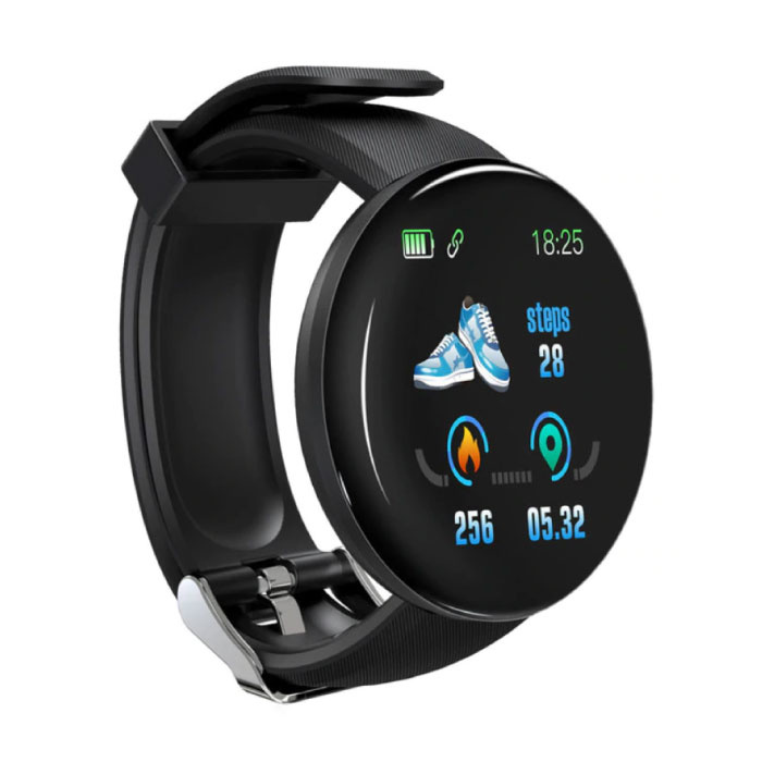 Original D18 Smartwatch Curved HD Smartphone Fitness Sport Activity Tracker Watch iOS Android iPhone Samsung Huawei Black