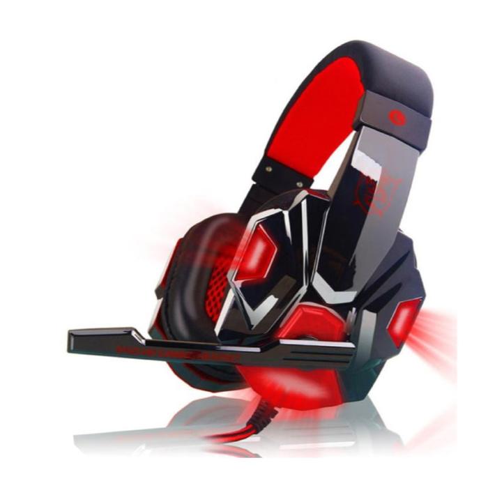 PC780 Gaming Headset Casque casque sur l'oreille avec microphone rouge
