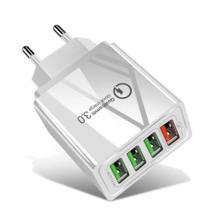 Qualcomm Quick Charge 3.0 Quad 4x Port USB Muur Oplader Wallcharger AC Thuislader Stekkerlader Adapter