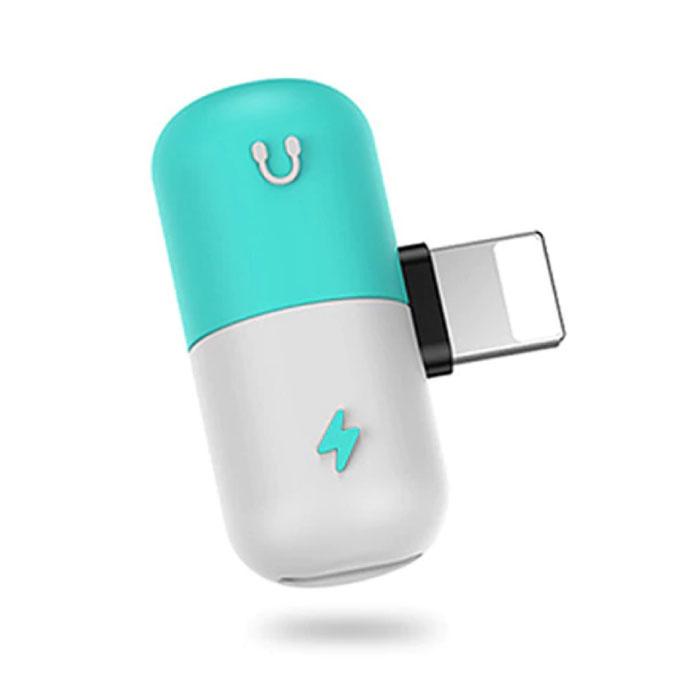 Chargeur Foudre iPhone + Casque Audio Splitter Adaptateur Bleu