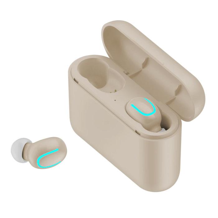 TWS AirPower sans fil Bluetooth 5.0 sans fil Cosses oreilles air écouteurs Earbuds Beige - Clear Sound