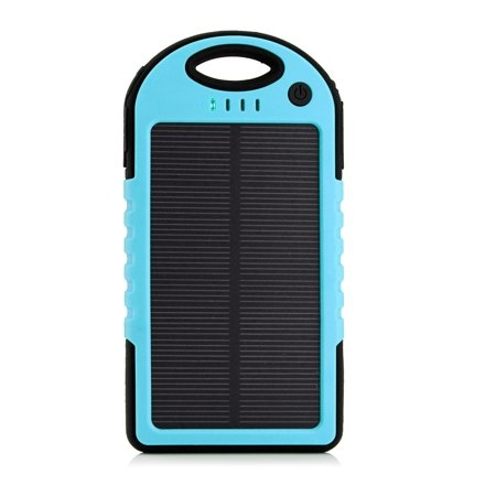 External 5000mAh Solar Charger Powerbank Solar Panel Emergency Battery Charger Blue