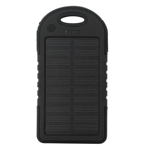 Externe 5000mAh Solar Charger Powerbank Zonnepaneel Noodaccu Oplader Zwart