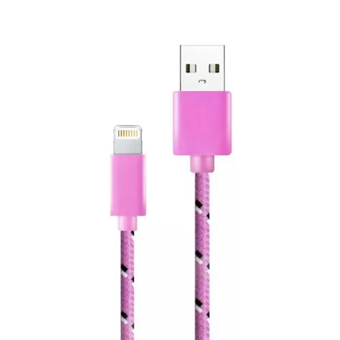 iPhone / iPad / iPod Lightning USB-Ladekabel Geflochtenes Nylon-Ladegerät Daten Kabeldaten 1 Meter Pink