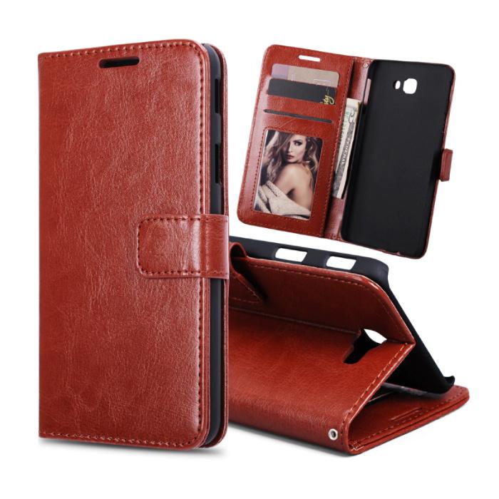 Samsung Galaxy S7 Edge - Leder Brieftasche Flip Case Cover Cas Case Brieftasche Braun
