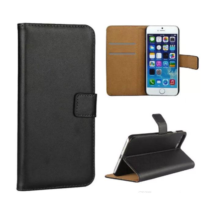 IPhone 5 SE 5S - Porte-monnaie flip couverture de cas Cas Cas Wallet Noir