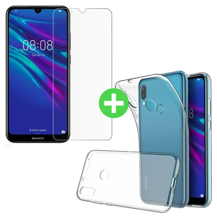 Huawei Y6 2019 Transparant TPU Hoesje + Screen Protector Tempered Glass