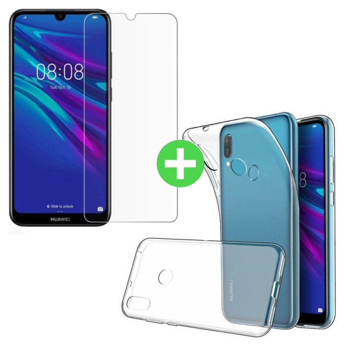 Huawei Y6 2019 Transparentes TPU-Gehäuse + Displayschutzfolie aus gehärtetem Glas