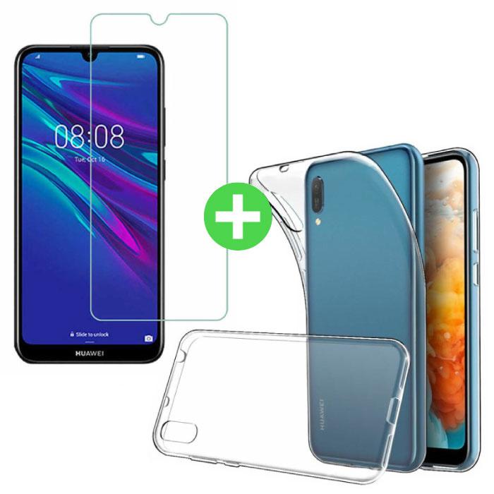 Huawei Y5 2019 Transparentes TPU-Gehäuse + Displayschutzfolie aus gehärtetem Glas