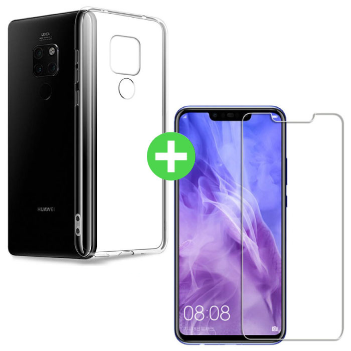 Huawei Mate 20 Pro Transparent TPU Case + Screen Protector Tempered Glass